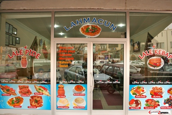 Lale Pide front window with pictures of food