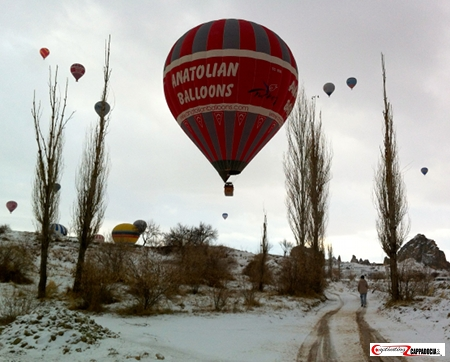 Anatolian balloon in cappadocia Turkey on a snowy morning with 9 balloons in the background close the ground in between 4 trees