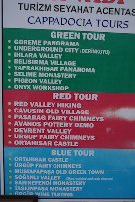 Red green blue tours in Cappadocia, Turkey with different listings describing each tour