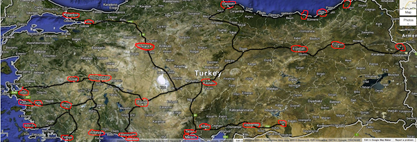 Turkey map  Nevsehir Seyahat bus routes