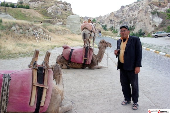 Goreme Open air museum camels in Cappadocia with Yashar