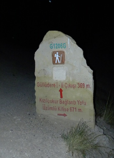 Cappadocia moonlight hike rose valley sign