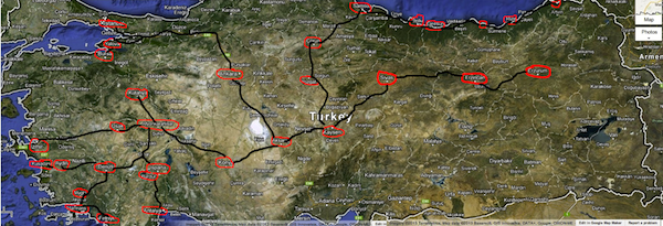 Turkey map Suha Turizm bus lines